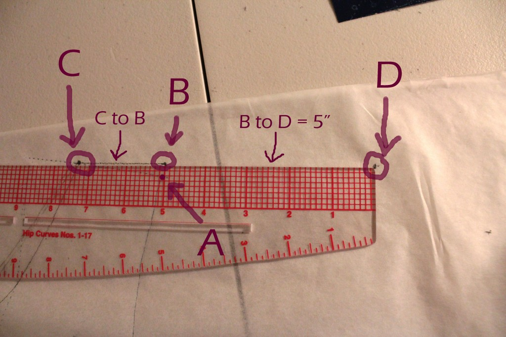"Mark C at the neckline-shoulder point, and connect C to B. Extend out 5"" from B to mark point D."