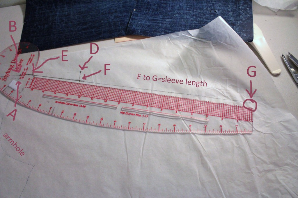 Connect E to F and continue the line to mark G. The line from E to G should be equal to your desired sleeve length.