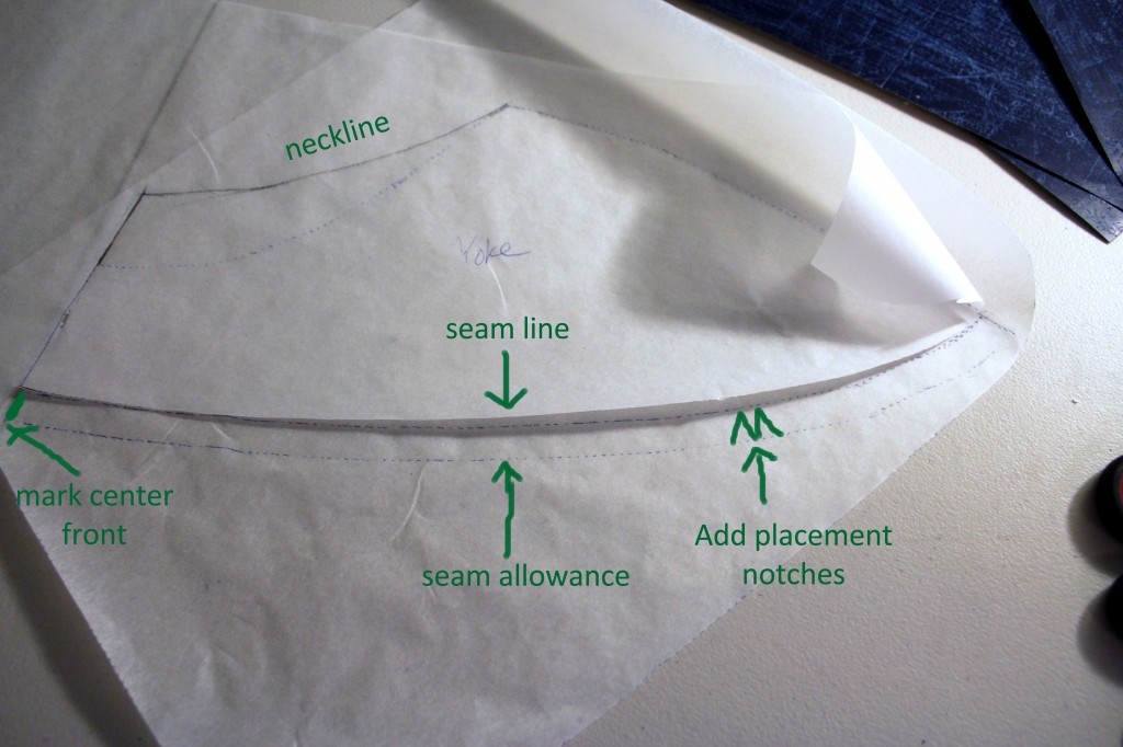 Trace the yoke and body pieces, add seam allowance, and cut out your new pattern pieces. Don't forget to mark the center and add matching placement notches on each of the pieces.