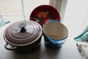 Dutch oven, casserole dish and decorative serving platter