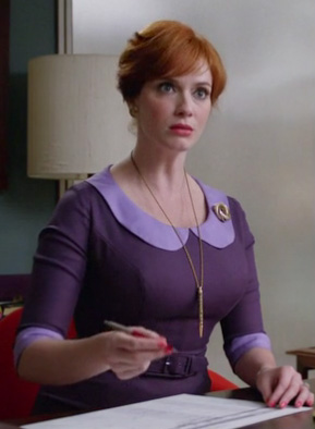 Purple with light purple peter pan collar and sleeve cuffs
